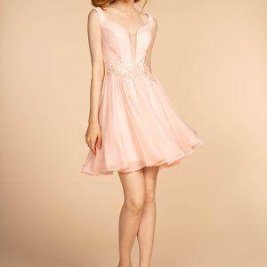 Illusion V-Neck A-Line Shape Prom Dress GS1617